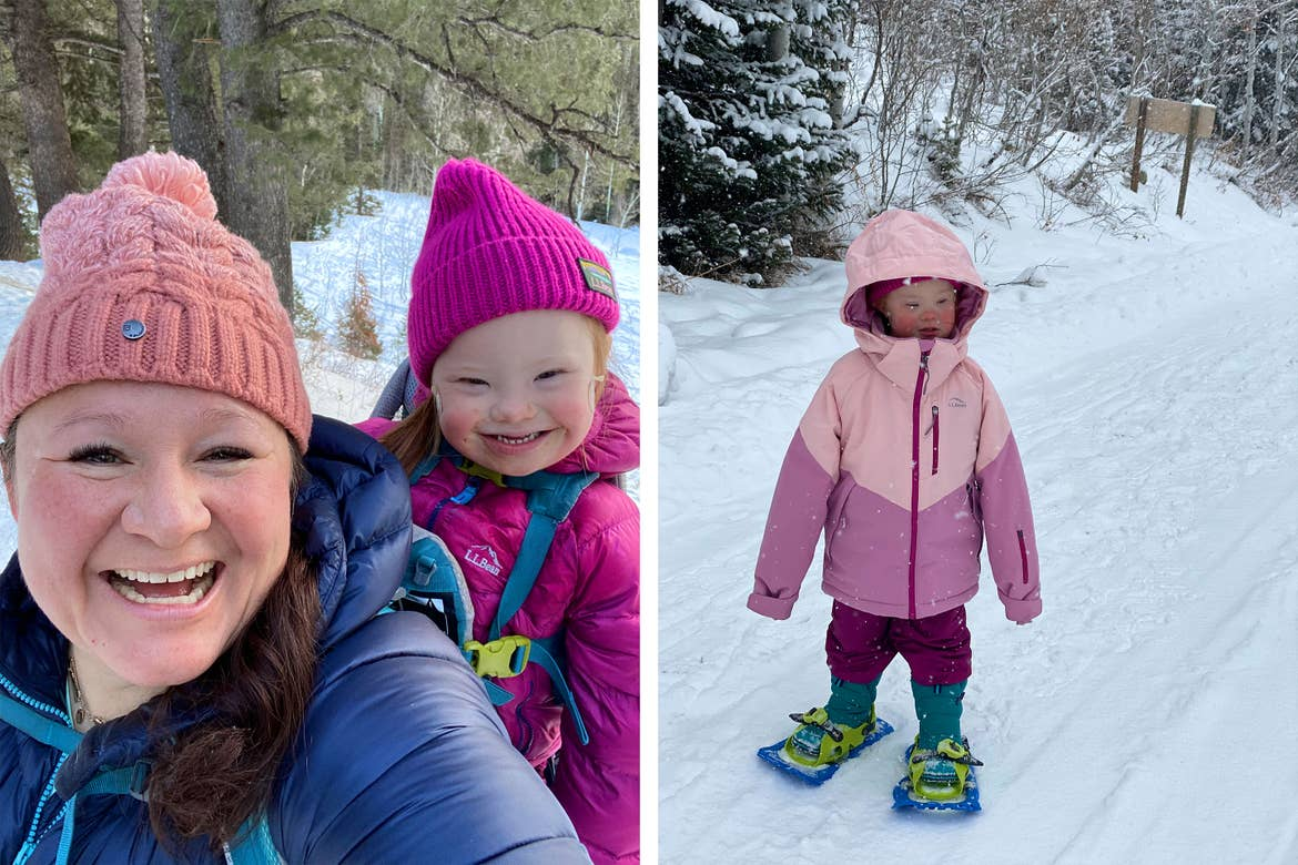 Left: Featured Contributor, Melody Forsyth ( left), backpacks with her daughter, Ruby (right), in the snow wearing pink hats and winter coats. Right: Ruby wears a pink winter coat while snowshoeing.