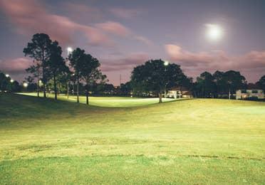 Golf course at night in North Village at Orange Lake Resort near Orlando, Florida
