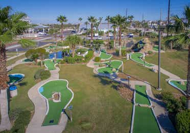 Aerial view of the mini golf course at Galveston Seaside Resort