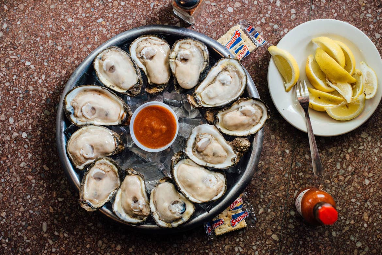 Felix's Oyster bar Oyster spread.