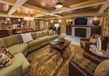 Living room in a Signature Collection villa at Smoky Mountain Resort in Gatlinburg, Tennessee.