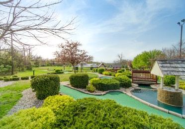 Outdoor mini-golf course at Fox River Resort in Sheridan, Illinois