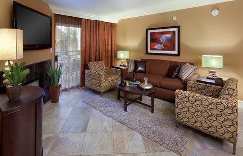 Living room in a one-bedroom villa at Desert Club Resort in Las Vegas