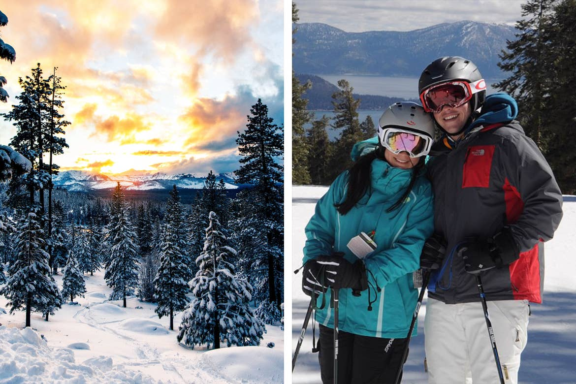 Left: Snow-capped mountain range of Lake Tahoe, NV under a cloudy sunset. Right: Co-contributor, Maria Leal (left), wears an aqua ski jacket while standing with her husband wearing ski gear and helmets with goggles.