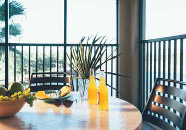 Furnished balcony in a two bedroom villa in West Village at Orange Lake Resort near Orlando, FL
