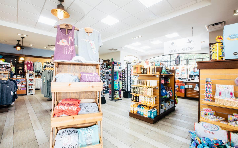 Marketplace with souvenirs in West Village at Orange Lake Resort near Orlando, Florida