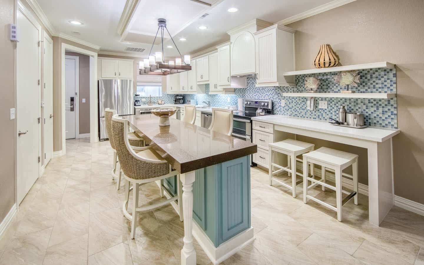 Kitchen in a two-bedroom Signature Collection villa at Galveston Seaside Resort