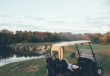 Golf cart on Legends Golf Course in East Village at Orange Lake Resort near Orlando, Florida