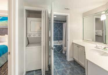 In-unit washer and dryer in a one-bedroom villa at Panama City Beach Resort