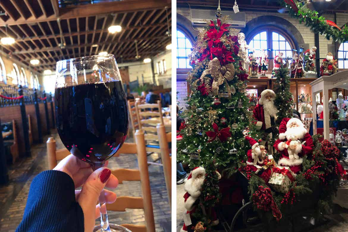 Left: Jennifer holds a glass of red wine at the Stable Cafe. Right: A decorated Christmas tree and other home decor items at the local Christmas Shoppe.