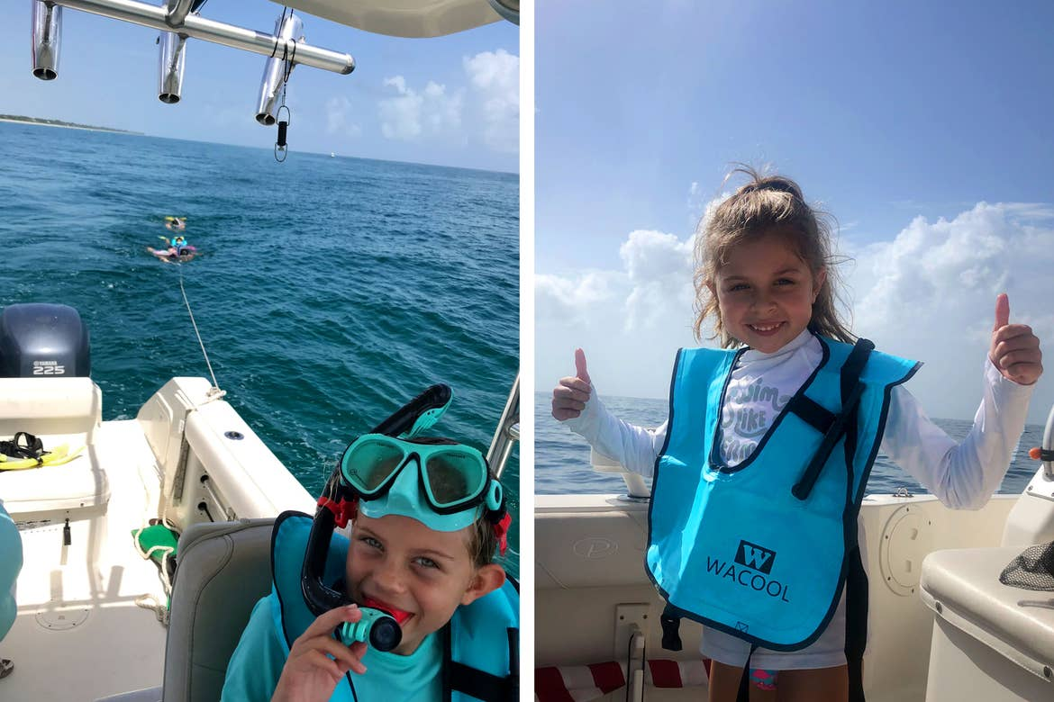 Left: Kyndall wears snorkel gear while steering a white boat in the ocean. Right: Kyler (right), gives two 'thumbs up' as she wears her Wacool snorkel vest while sitting on a boat in the ocean.