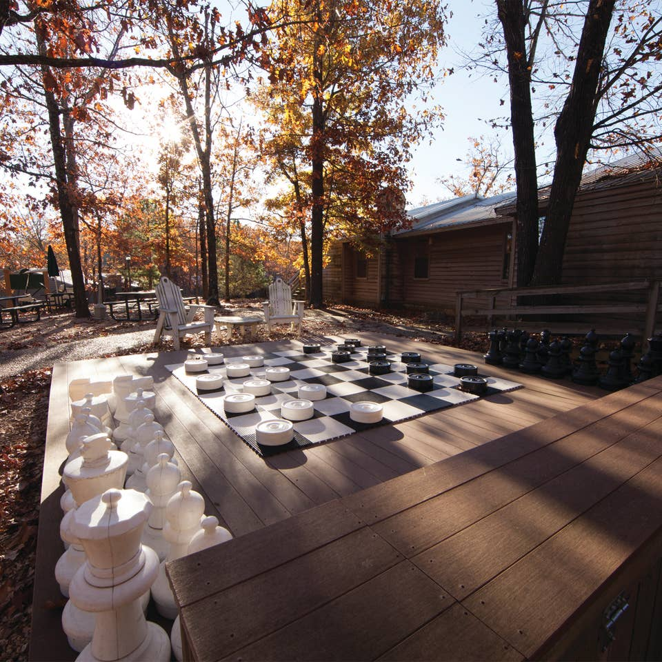 Outdoor giant checkers at Ozark Mountain Resort in Kimberling City, Missouri.