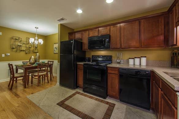 Kitchen and amenities in a three-bedroom ambassador villa at the Holiday Hills Resort in Branson Missouri.