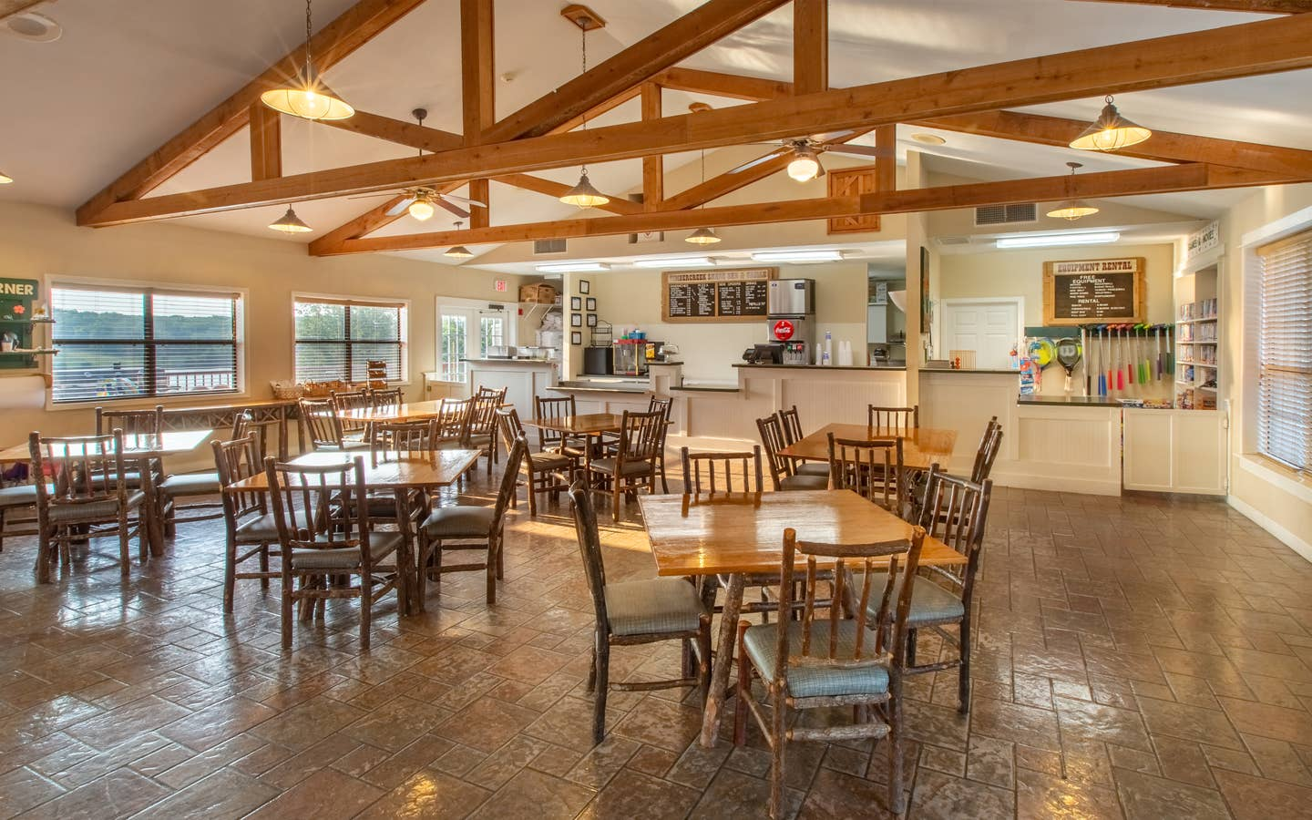 Timber Creek Snack Bar & Grille with indoor seating at Timber Creek Resort in De Soto, Missouri.