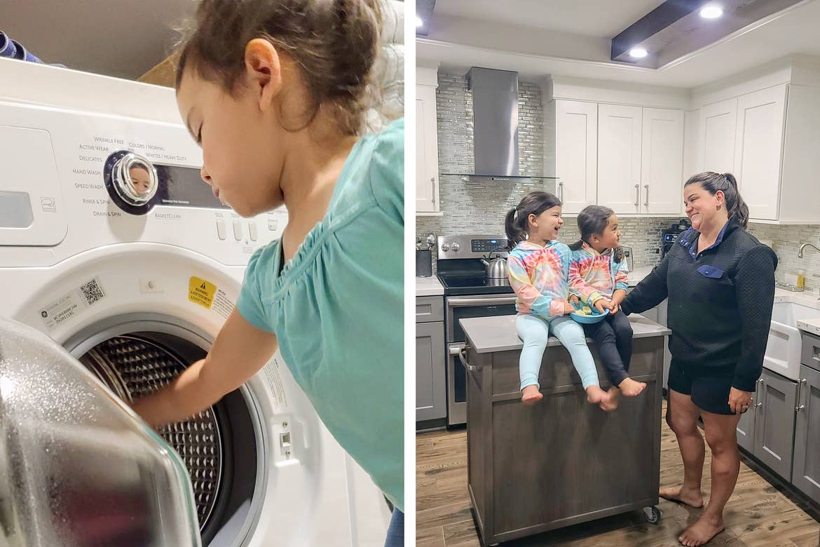 Left: Angelica Kajiwara's daughter loads laundry into our villa washer unit. right: Angelica and her daughters congregate in the kitchen of our signature collection villa.