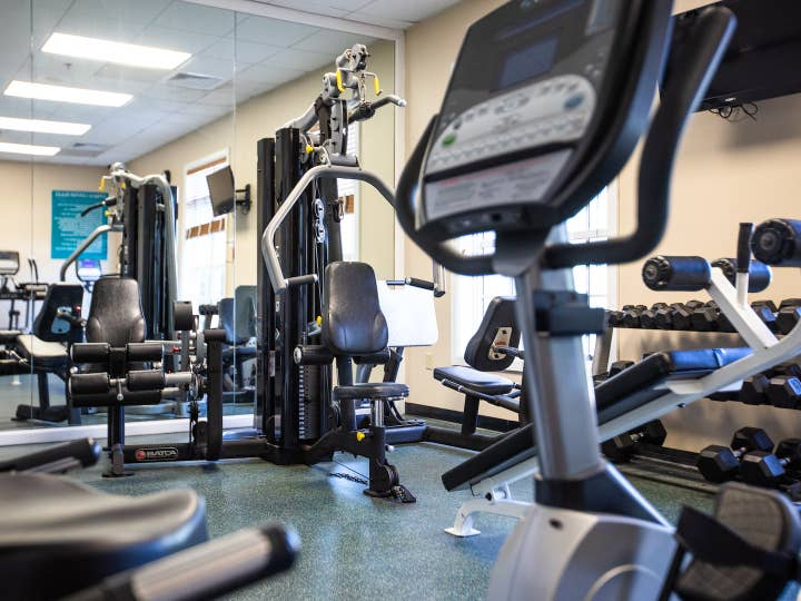 Fitness center with free weights and exercise equipment at South Beach Resort in Myrtle Beach, South Carolina.