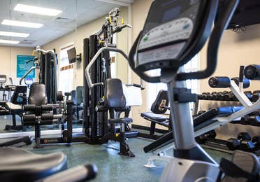 Fitness center with free weights and exercise equipment at South Beach Resort in Myrtle Beach, South Carolina