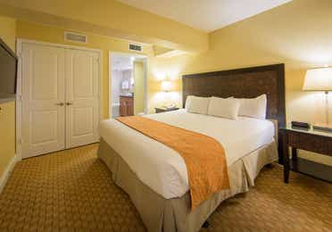 King bed in a one bedroom villa in West Village at Orange Lake Resort near Orlando, FL