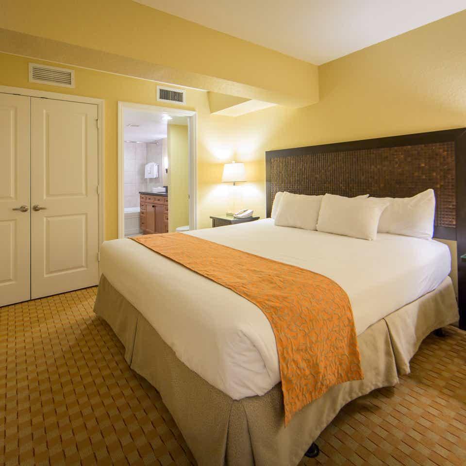 King bed in a one bedroom villa in West Village at Orange Lake Resort near Orlando, FL