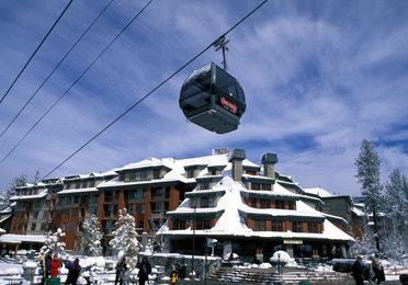 Gondola moving through the Sierra Nevada Mountains in Genoa, Nevada near David Walley's Resort