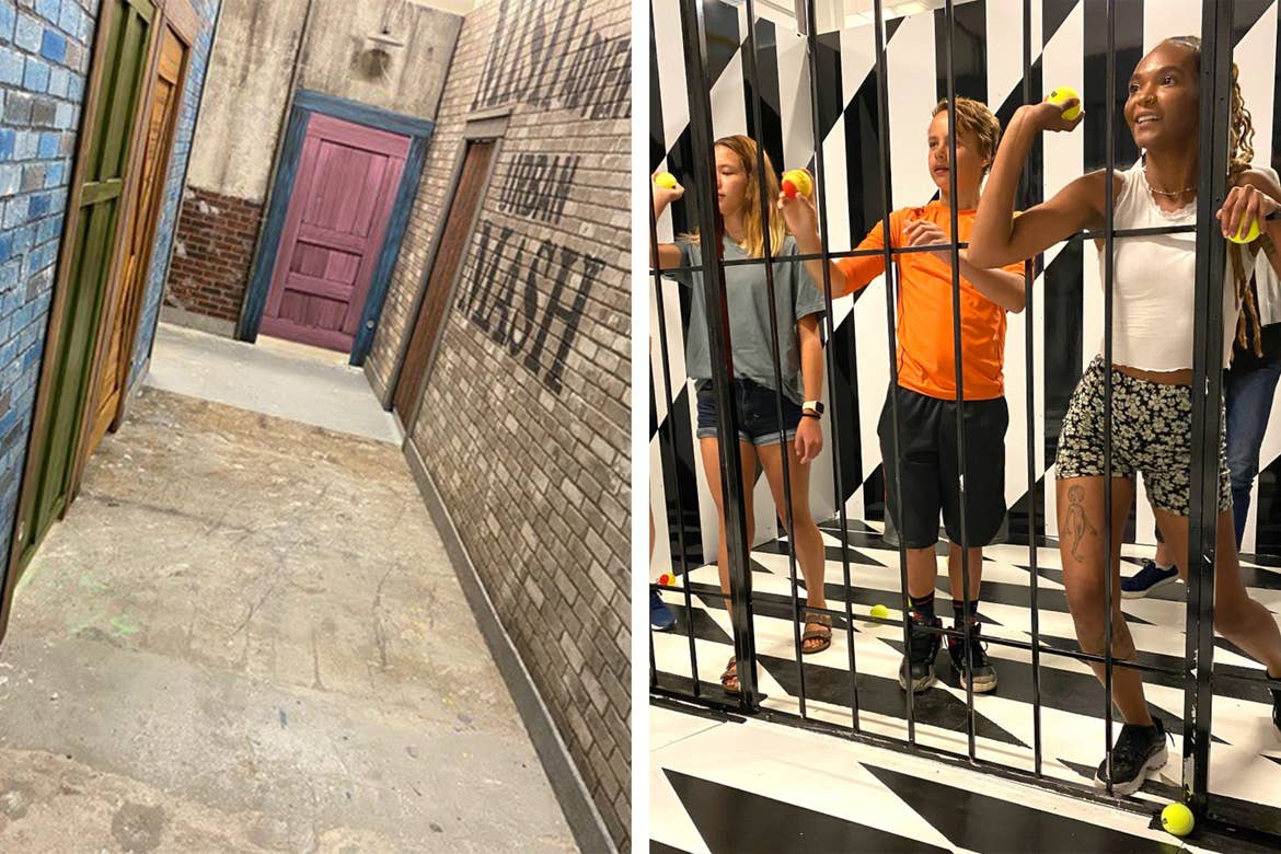 Left: Hallway leading to entrance of an Escape Room. Right: Three guests throw tennis balls from behind a gate to release the handle.