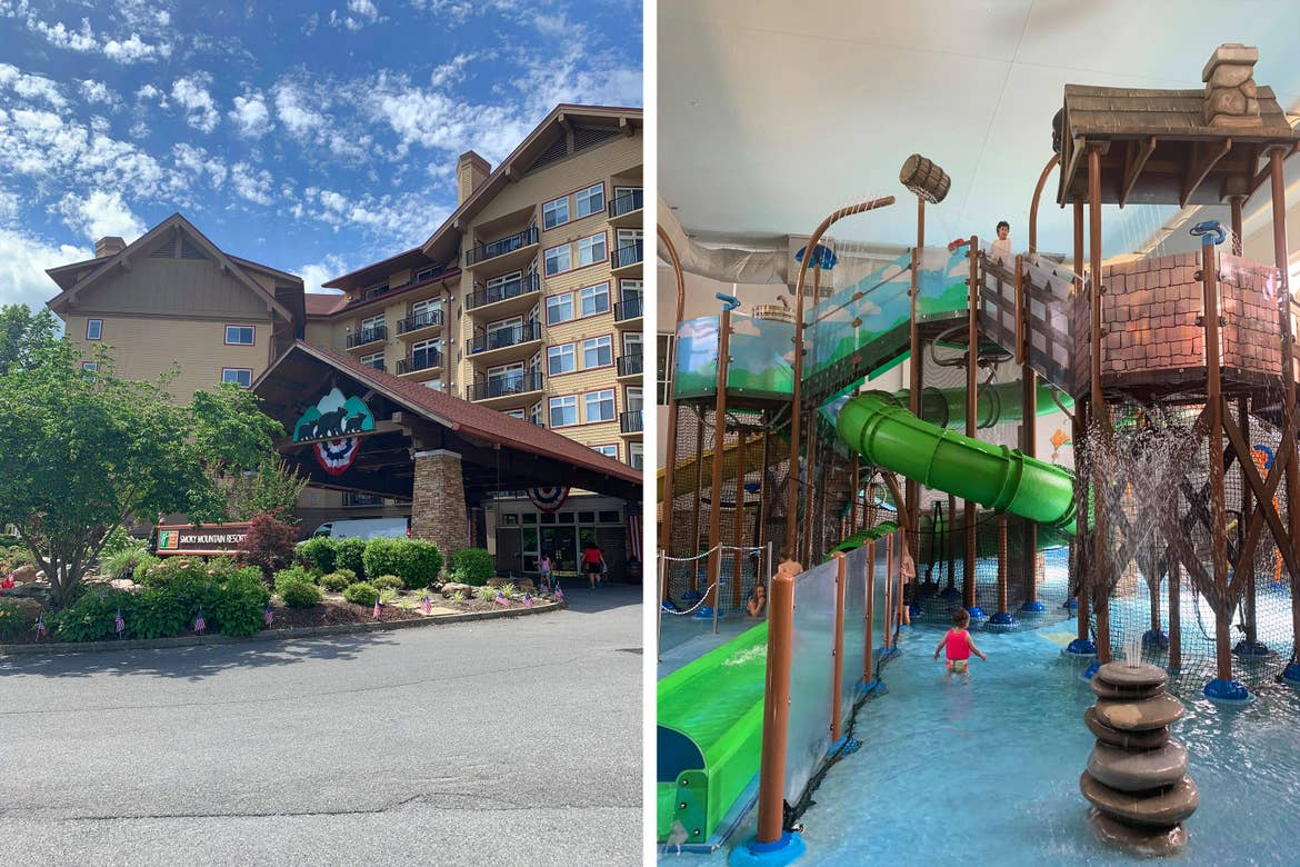 Left: The exterior of our Smoky Mountain resort. Right: The indoor water park at our Smoky Mountain resort.