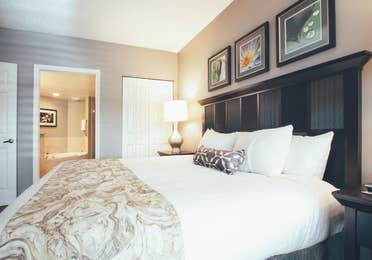 Bedroom with attached bathroom in a villa in North Village at Orange Lake Resort near Orlando, Florida