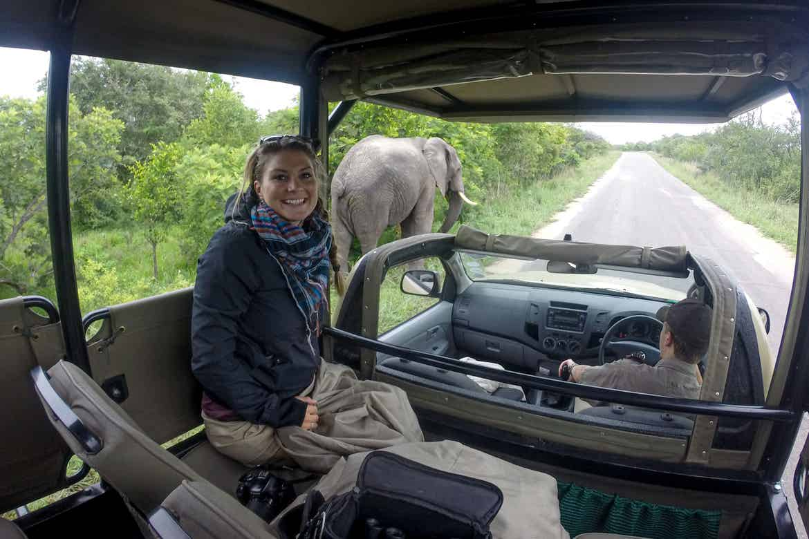 Featured Contributor, Ashlyn George, sits in a safari truck near an elephant in South Africa.