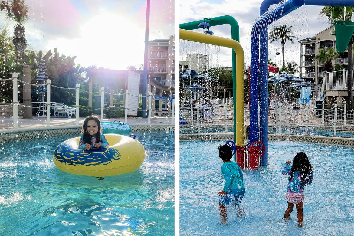 Left: Angelica Kajiwara's daughter floats along the lazy river at our Cape Canaveral Beach Resort. Right: Angelica's son and daughter play near the 'Splash Pad' at our Cape Canaveral Beach Resort.