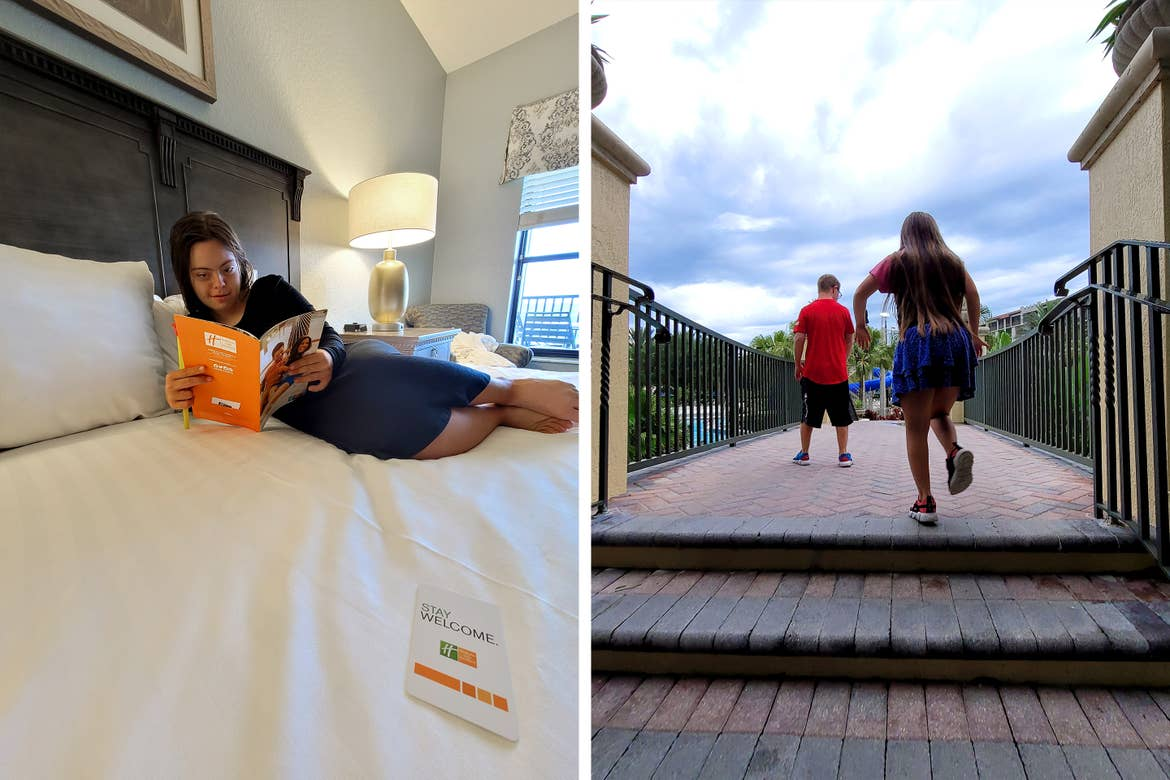 Left Image: A young girl lays on a bed while reading a pamphlet. Right image: A young boy (left) and girl (right) run across a paved walkway bridge.