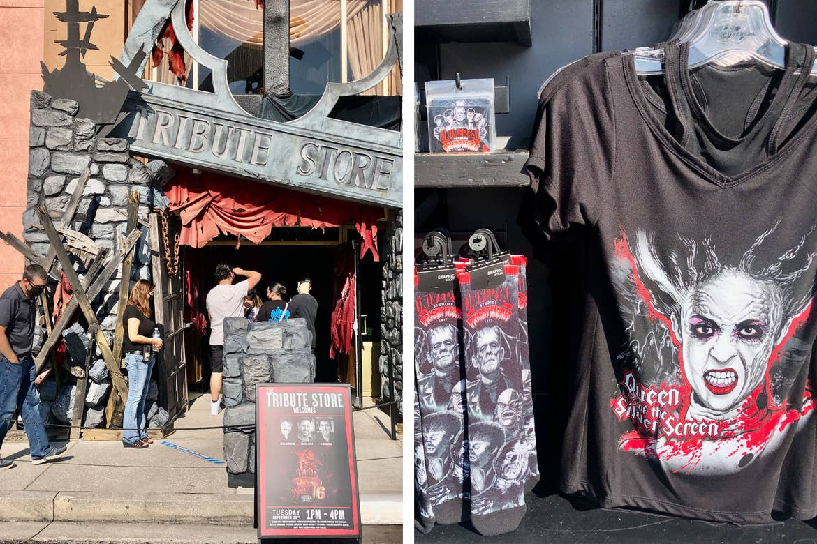 Left: Exterior shot of the 'Tribute Store' with some Halloween decor overlay. Right: Bride of Frankenstein merchandise available for purchase.