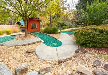 One of the holes in a mini golf course at Apple Mountain Resort in Clarkesville, GA