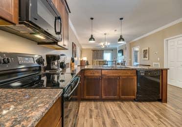 Kitchen in a three-bedroom villa at Williamsburg Resort