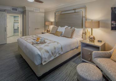 A large bedroom in a four-bedroom Signature Collection villa at Cape Canaveral Resort
