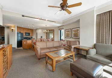Living room in a Ridge Tahoe two-bedroom villa at Tahoe Ridge Resort