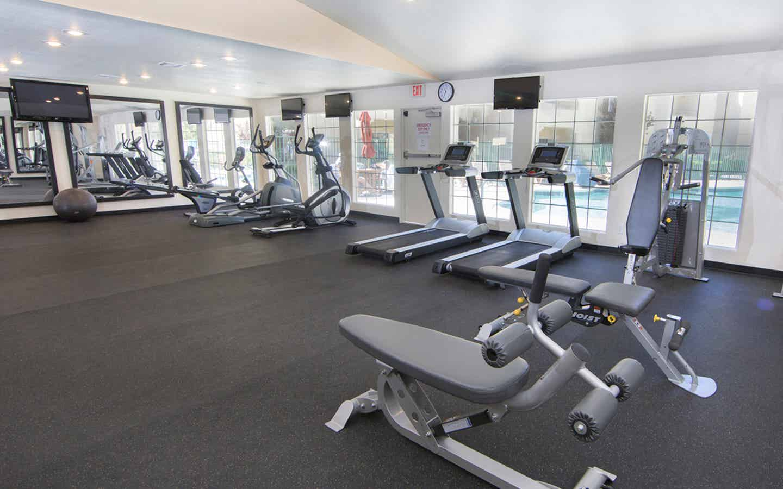 Fitness center with treadmills at Desert Club Resort in Las Vegas, Nevada.