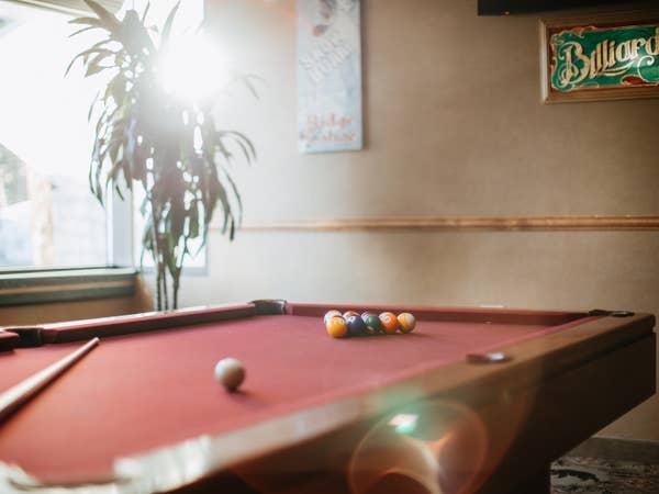 Billiards table in game room at Tahoe Ridge Resort in Stateline, Nevada