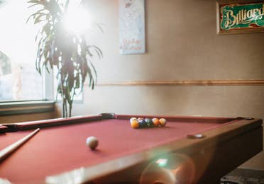 Billiards table in game room at Tahoe Ridge Resort in Stateline, Nevada.