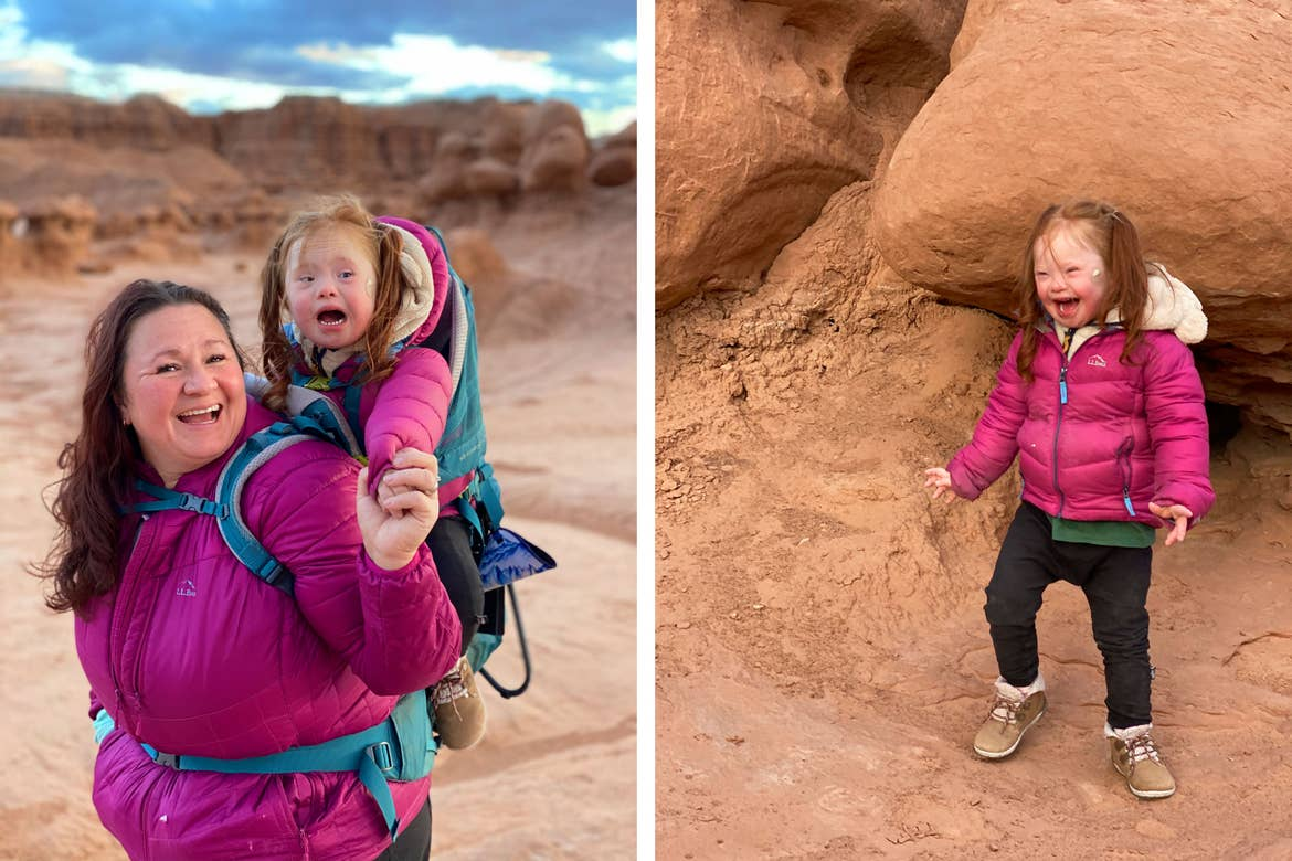 Left: Featured Contributor, Melody Forsyth (left), backpacks with her daughter, Ruby (right), in front of orange rock formations wearing pink coats. Right: Ruby stands in front in front of orange rock formations wearing a pink coat.
