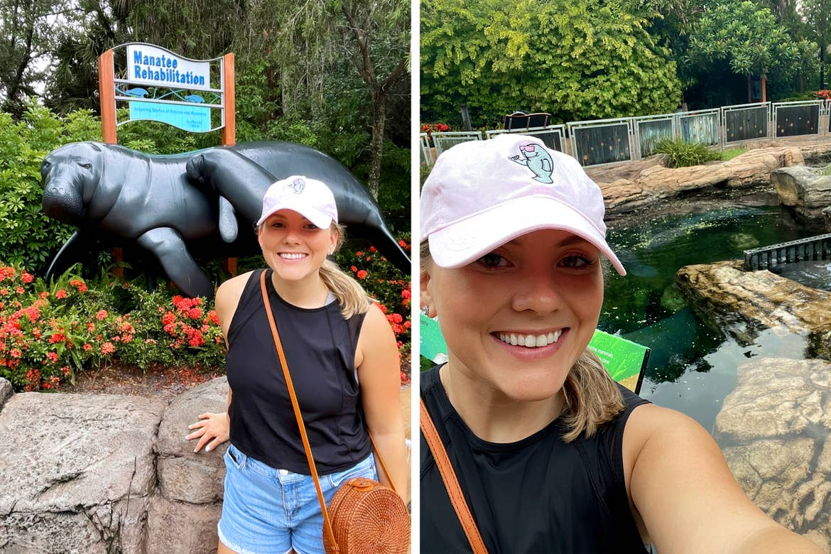 Left: A Caucasian woman with a pink baseball cap, black tank, denim shorts stands near a sign that reads 'Manatee Rehabilitation' with statues of a female and baby manatee. Right: The same woman stands near a tank enclosure containing manatees.