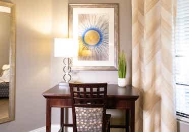 Desk beside a window in a villa in East Village at Orange Lake Resort near Orlando, Florida