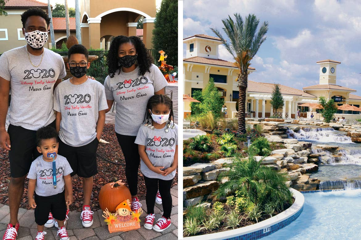 Left: Featured Contributor, Tina Meeks, stands with her family wearing matching Disney shirts and masks at our Orange Lake resort in Orlando, Florida. Right: An exterior shot of our Orange Lake Resort pool located in Florida