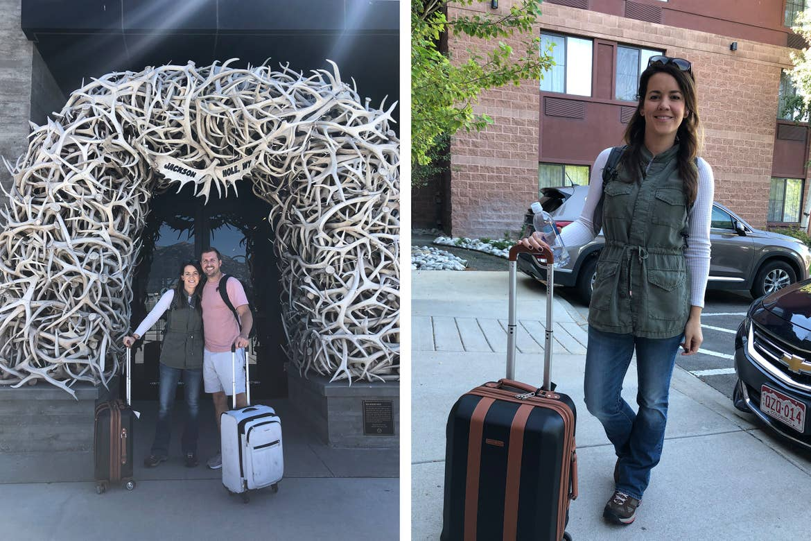 Left: Jenn C. Harmon (left) and her husband (right) stand under an arch made of shedded antlers with rolling luggage in tow. Right: Jenn C. Harmon wears a white shirt and green vest with jeans outside of a resort with her rolling luggage in tow.