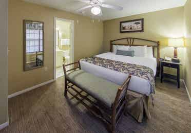Master bedroom in a two-bedroom lodge at the Hill Country Resort in Canyon Lake, Texas.