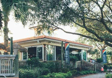 Exterior of Tradewinds Bar & Grill in River Island at Orange Lake Resort near Orlando, Florida
