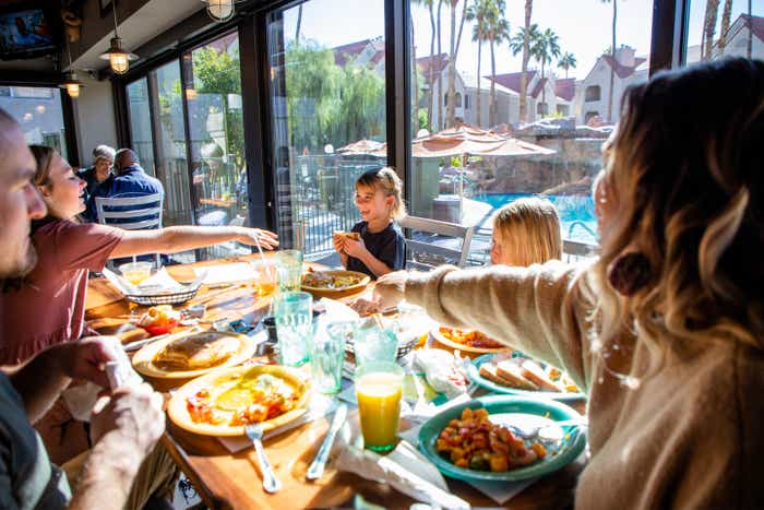 The Haby family dines at the Gold Mine Bar & Grill located at our Desert Club Resort located in Las Vegas, Nevada.