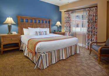 Bedroom in a villa at Smoky Mountain Resort in Gatlinburg, Tennessee.