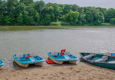 Paddle boats sitting at edge of lake at Fox River Resort in Sheridan, Illinois.