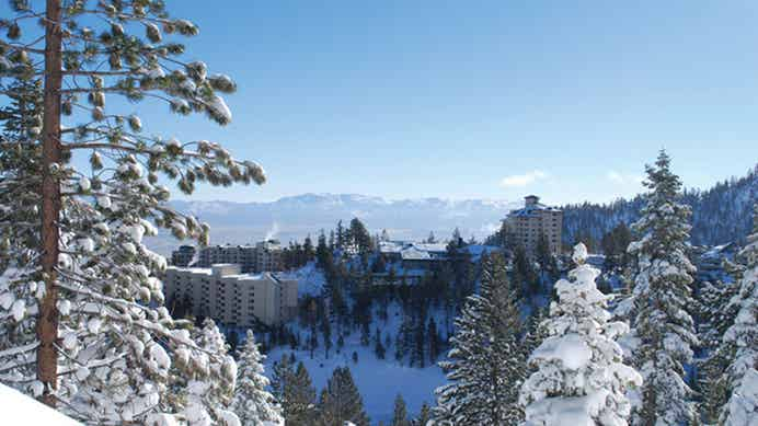 Aerial view of Tahoe Ridge Resort in the winter