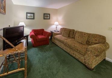 Living room in a three bedroom villa at Oak n' Spruce Resort in South Lee, Massachusetts